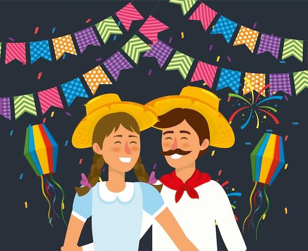 Vrouw en man paar met hoed en lantaarns