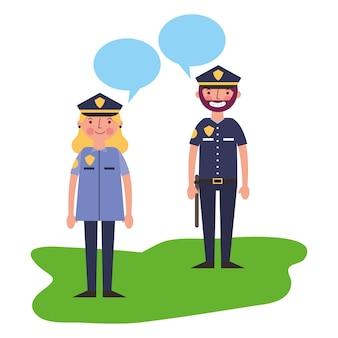 Vrouw en man politieman praten vectorillustratie