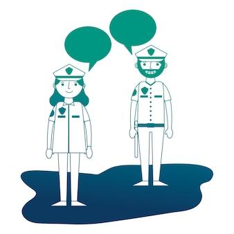 Vrouw en man politieman praten