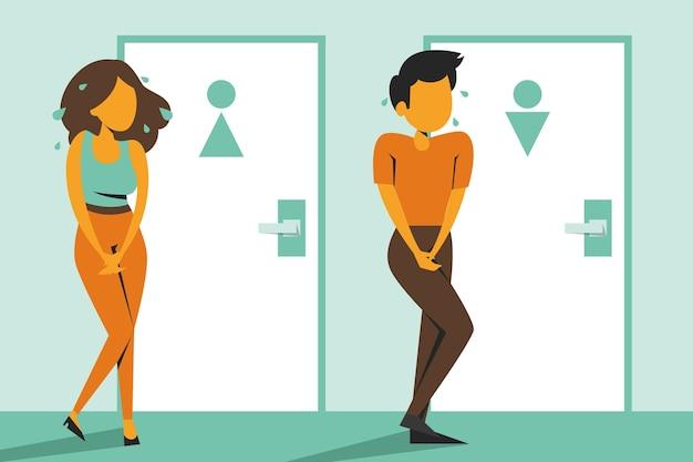 Vrouw en man staan bij de gesloten toiletdeur en willen geïsoleerd plassen. persoon met een volle blaas, wanhoop en stress.