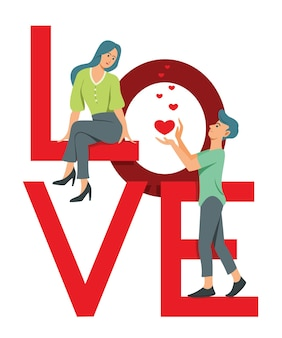 Vrouw en man staan op de grote letter woord is liefde en flirten.