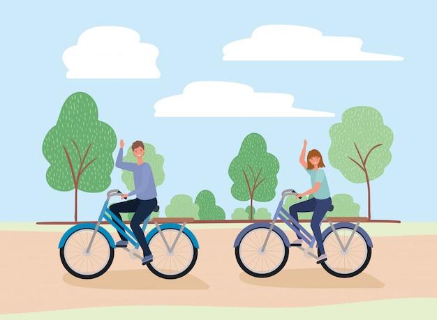 Vrouw en man tekenfilms berijdende fietsen bij park