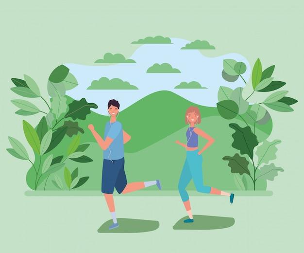Vrouw en man tekenfilms die bij park met bladeren lopen