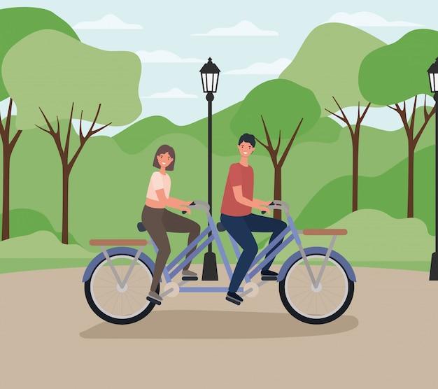 Vrouw en man tekenfilms dubbele fiets rijden in het park met lamp