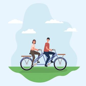 Vrouw en man tekenfilms dubbele fiets rijden in het park