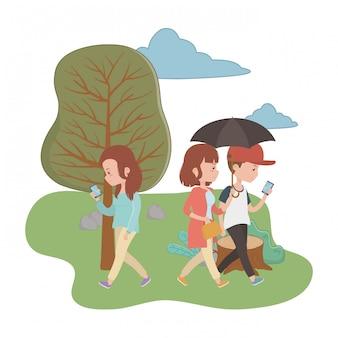 Vrouw en man tekenfilms in het parkontwerp