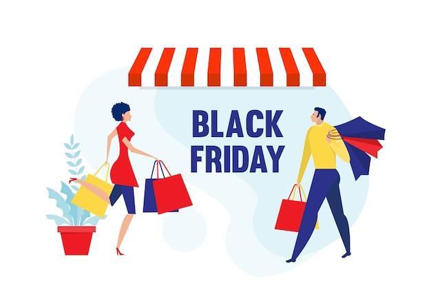 Vrouw en man winkelen verkoop korting zwarte vrijdag.