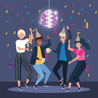 Vrouw en mannen die met hoed en confettiendecoratie dansen