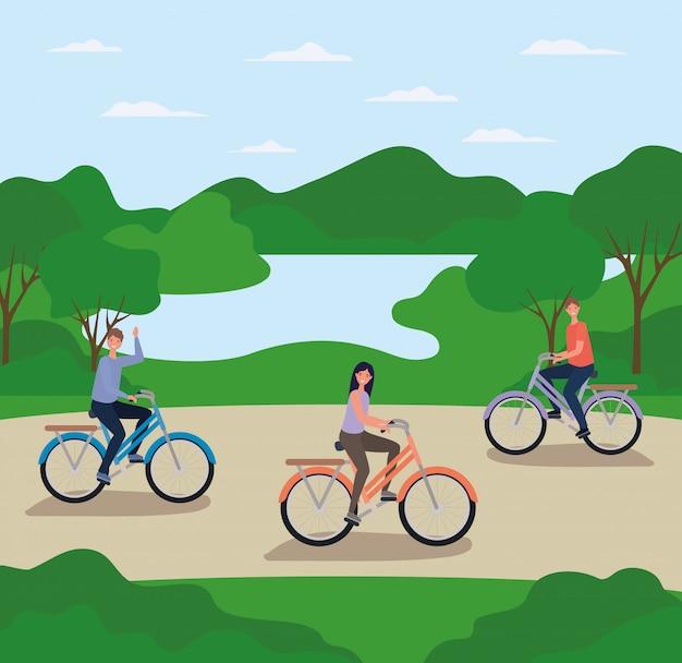 Vrouw en mannen tekenfilms berijdende fietsen bij park