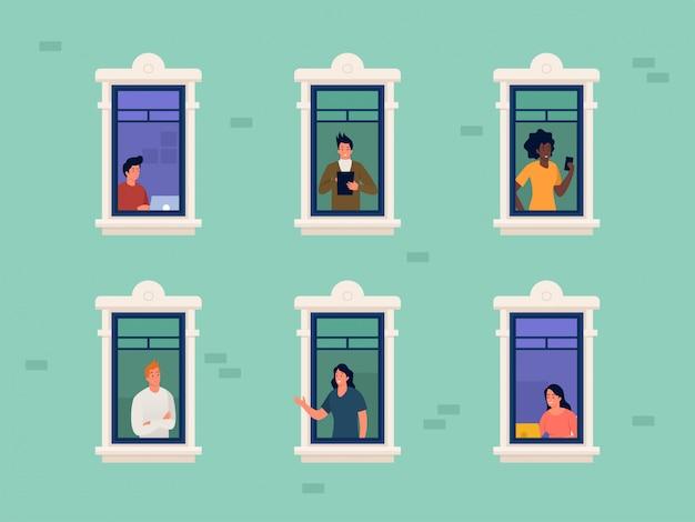 Vrouw en mannen werken vanuit huis tijdens covid 19 uitbraak illustratie concept, sociale afstand om corona virus te voorkomen