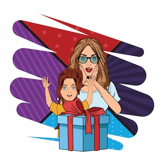 Vrouw en meisje met cadeau vak popart