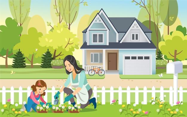 Vrouw en meisje, moeder en dochter, tuinieren samen planten van bloemen in de tuin. moederschap opvoeding.