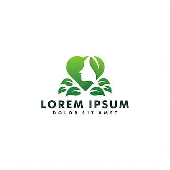 Vrouw en natuur blad logo