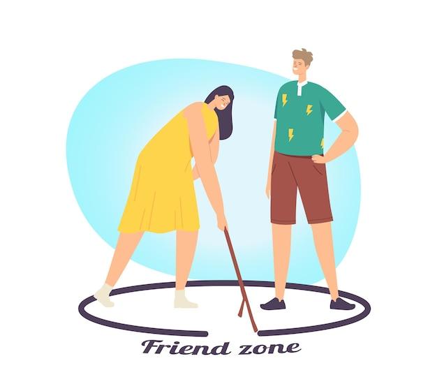 Vrouw en opdringerige aanbidder in friend zone concept. mannelijk personage wordt verliefd en probeert een meisje aan te trekken. vrouwelijke tekening cirkel met man staan binnenkant van grens. cartoon mensen vectorillustratie