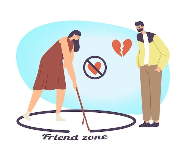 Vrouw en opdringerige minnaar uit de vriendenzone. mannelijk personage met gebroken hart wordt verliefd en probeert een meisje aan te trekken. vrouwelijke tekening cirkel met man staan buiten. cartoon mensen vectorillustratie