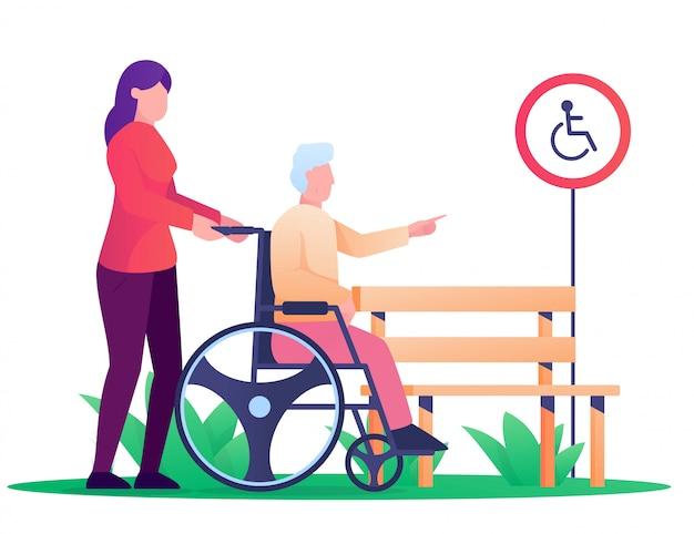 Vrouw en oude man gebruiken whell stoel illustratie