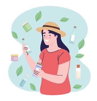 Vrouw en producten cosmetica