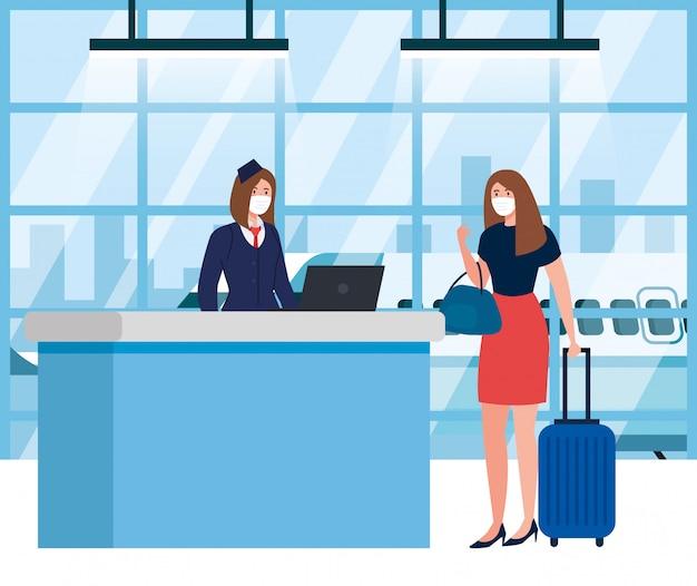Vrouw en stewardess dragen van masker voor medische bescherming in luchthaventerminal, reizen per vliegtuig tijdens pandemie van coronavirus, preventie covid 19