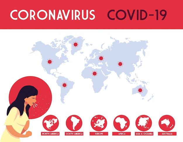 Vrouw en wereldkaarten met covid 19 virus vectorontwerp