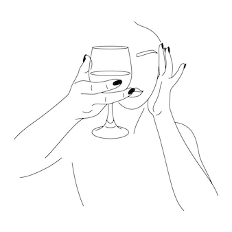 Vrouw en wijnglas in een minimale trendy stijl. vector mode illustratie van vrouwen handen in lineaire stijl. beeldende kunst voor posters, tatoeages, winkel- en barlogo's, post op sociale media