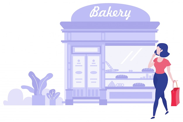 Vrouw en winkelen concept illustratie
