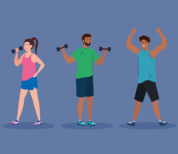 Vrouw en zwarte mannen tillen gewicht en stretching ontwerp, gym sport en bodybuilding thema.