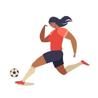 Vrouw europees voetbal, voetballer platte vectorillustratie.