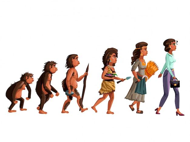 Vrouw evolutie vector cartoon
