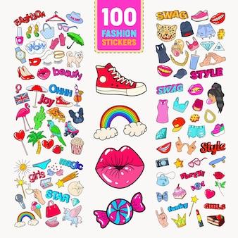 Vrouw fashion stickers collectie met accessoires en kleding