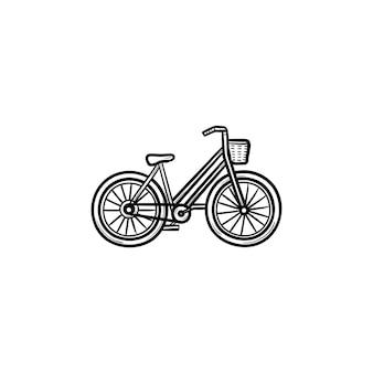 Vrouw fiets met mand hand getrokken schets doodle pictogram. retro fiets-, damesfiets- en winkelconcept