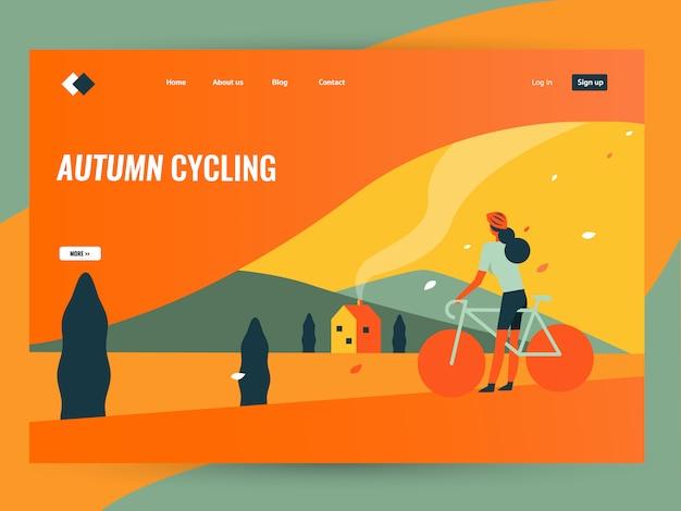 Vrouw fietsten in herfst landschap platteland.