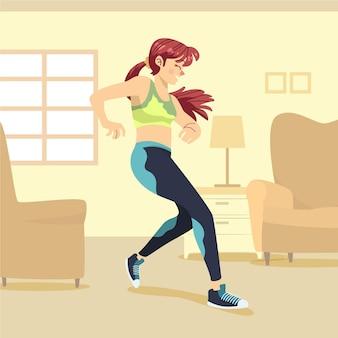 Vrouw fitness dansen thuis Gratis Vector