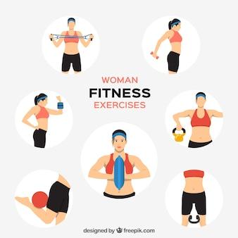 Vrouw fitness oefeningen