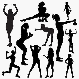 Vrouw fitness silhouetten