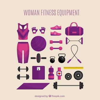 Vrouw fitnessapparatuur