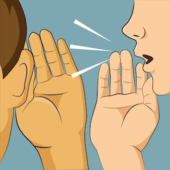 Vrouw fluisteren in iemand oor haar iets geheim vertellen.