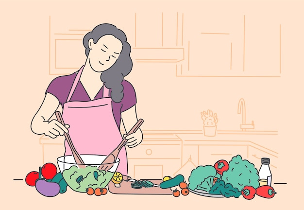 Vrouw fornuis vegetarisch voedsel hand getrokken