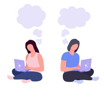 Vrouw freelancer met computer meisje zit met een laptop werk op afstand werk vanuit huis