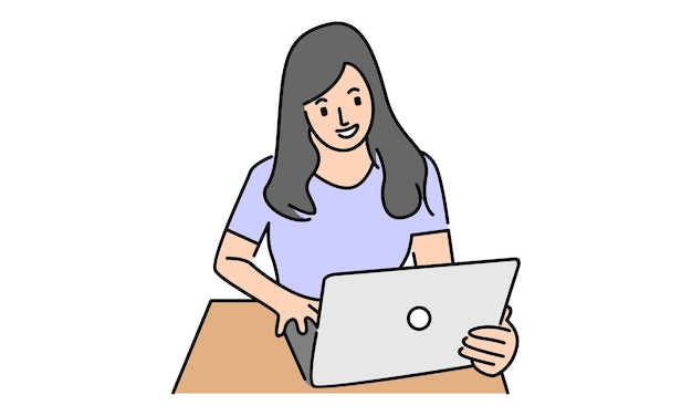 Vrouw freelancer werken met laptop