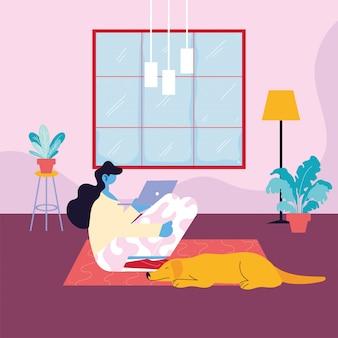 Vrouw freelancer werken op afstand van haar huis