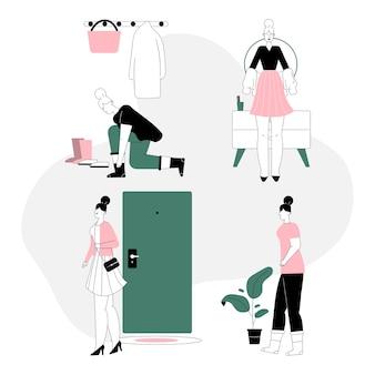 Vrouw gaat in stijlvolle outfit aan het werk en verandert thuis in comfortabel pak.