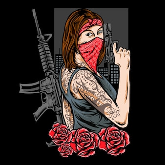 Vrouw gangster met geweren vectorillustratie