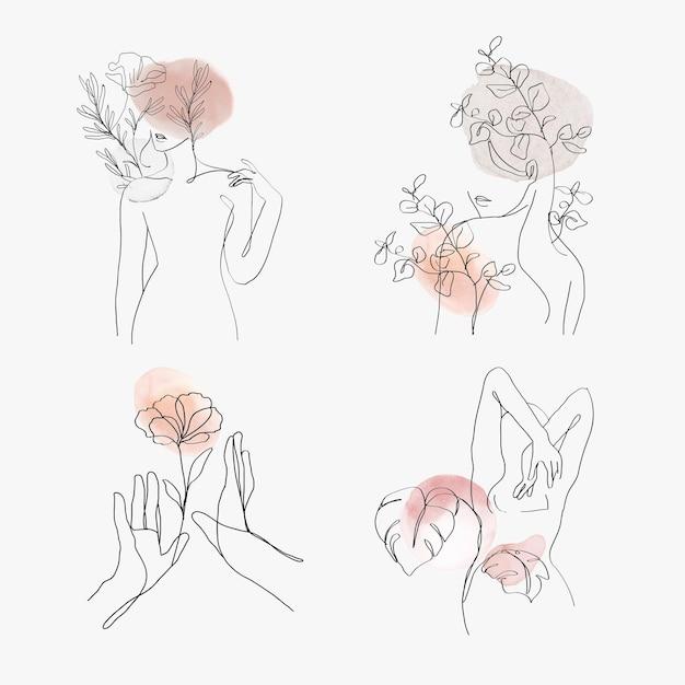 Vrouw gebaar lijn kunst vector vrouwelijke pastel illustratie collectie