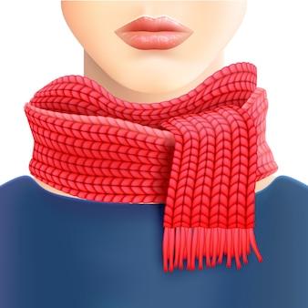 Vrouw gebreide rode sjaal advertentie afdrukken