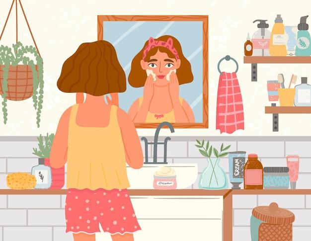 Vrouw gebruik crème in de badkamer. vrouwelijke gezichtsverzorging met biologische eco-cosmetica. meisje kijkt in de spiegel, dagelijkse schoonheidsverzorging trendy vectorconcept. schoonheid vrouw gezichtsverzorging in badkamer illustratie