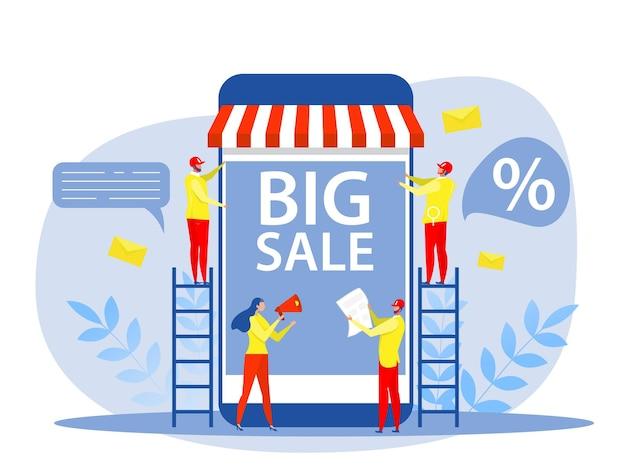 Vrouw gebruik megafoon of megafoon op scherm van laptop telefoon digitale promotie grote verkoop en kortingen voor shoppers e-marketing concept vector platte vectorillustratie.