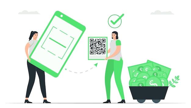 Vrouw gebruikt applicatie om qr-code te scannen om te betalen. minimaal groen monochroom kleurontwerp in e-betalingsconcept.