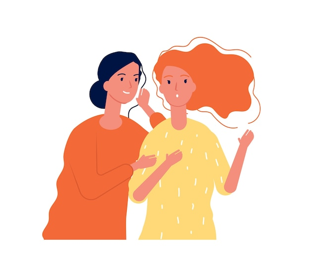 Vrouw geheimen. dames vriendinnen praten over onverwacht roddelen fluisteren