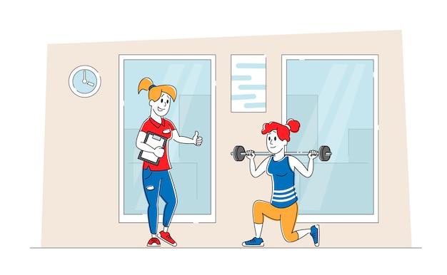 Vrouw gehurkt met gewicht in de sportschool