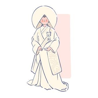 Vrouw, gekleed in japanse shiromuk